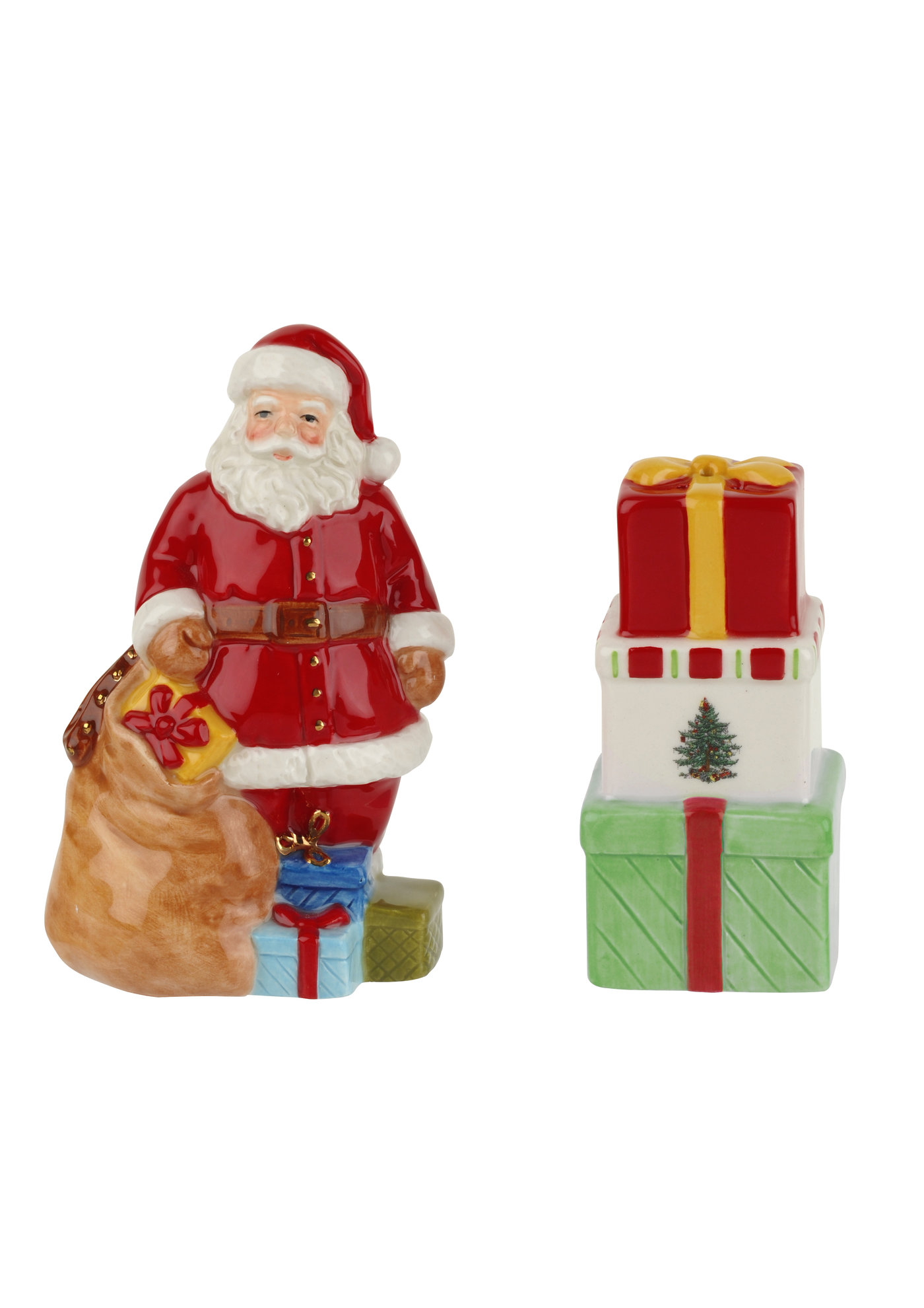 Spode Christmas Tree Santa Salt and Pepper Gift Boxed image number 0