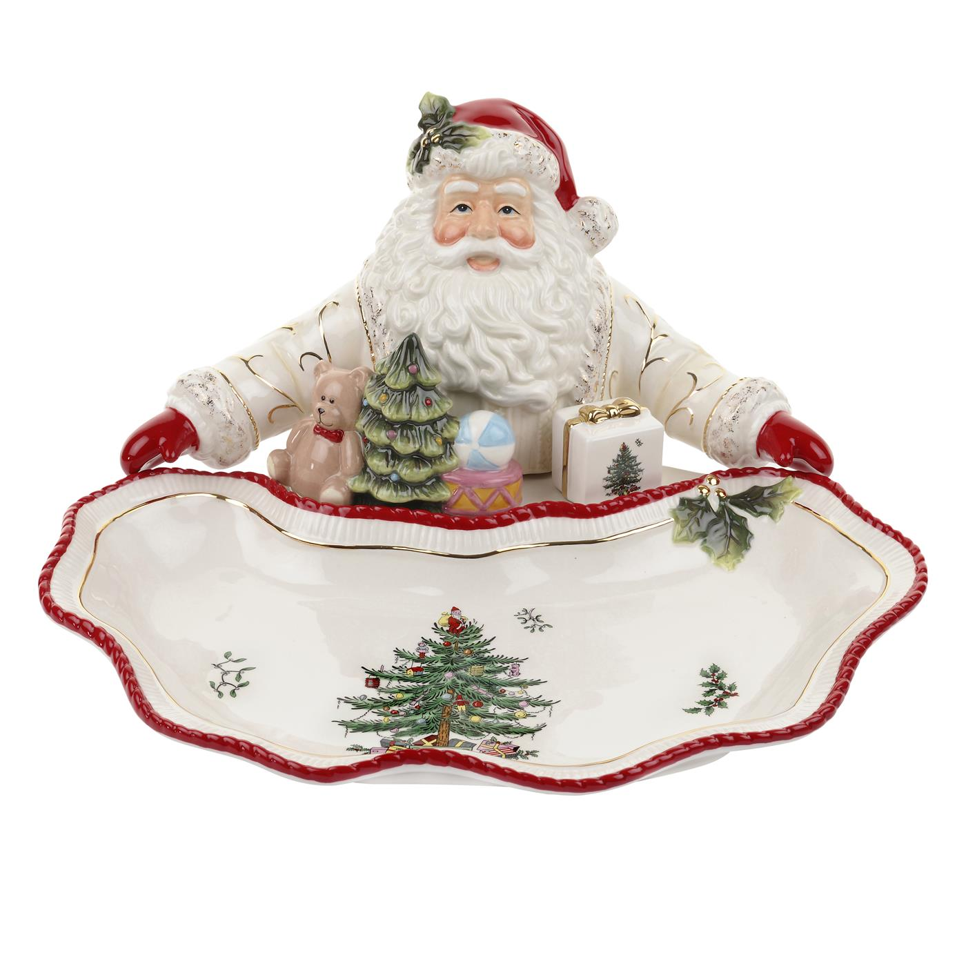 Spode Christmas Tree Gold Figural Collection Santa Dish image number 0
