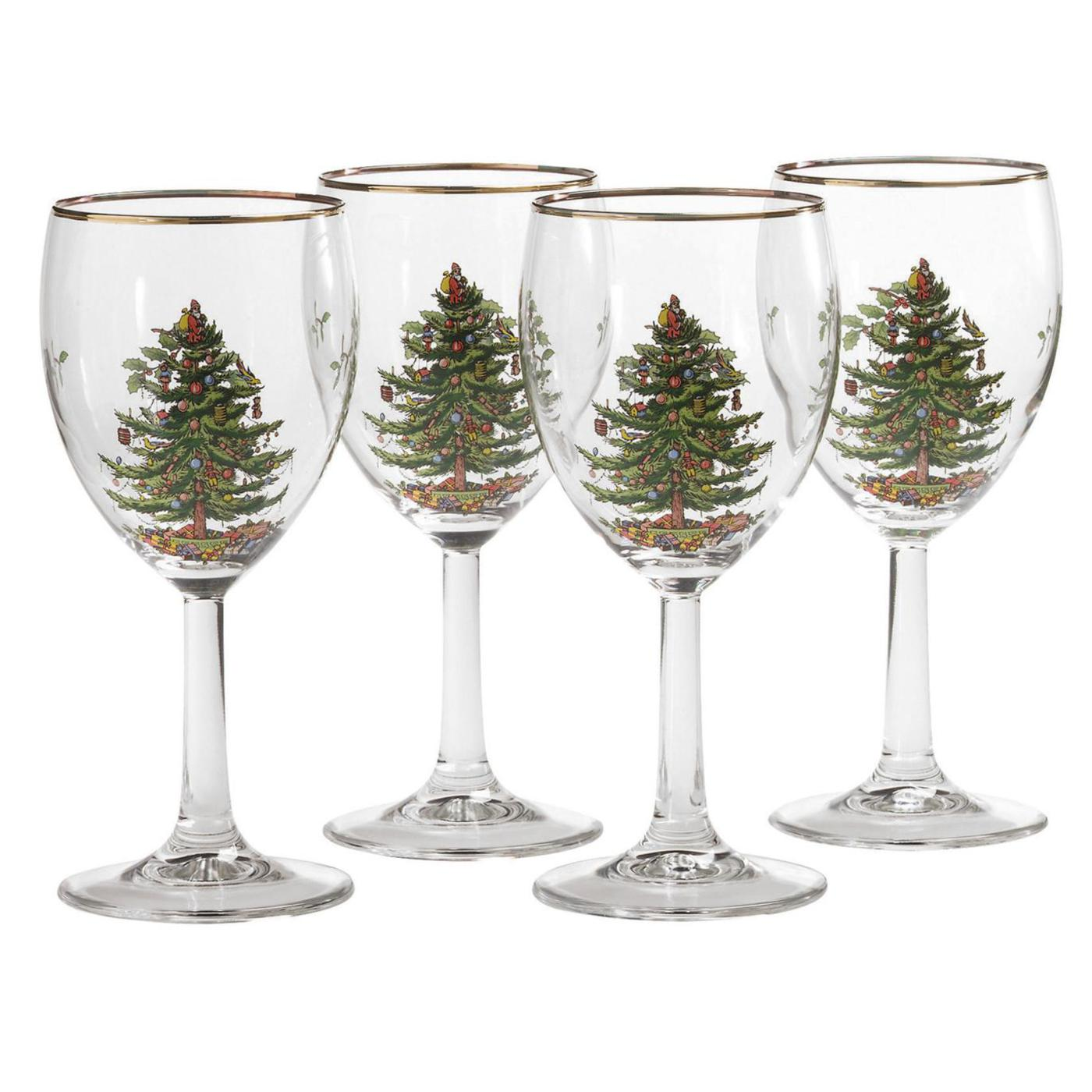 Spode Christmas Tree Set of 4 Wine Glasses image number 0