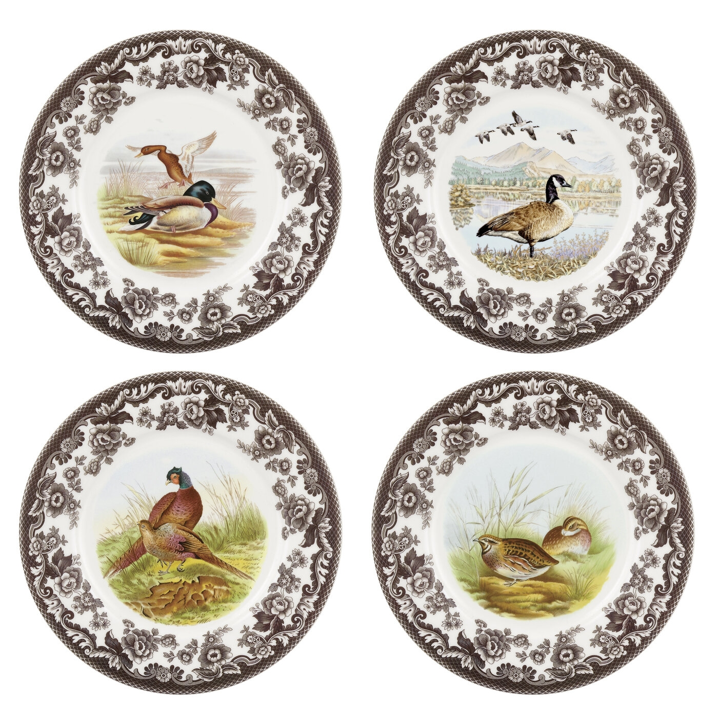 Spode Woodland 8 Inch Set of 4 Salad Plates (Birds) image number 0