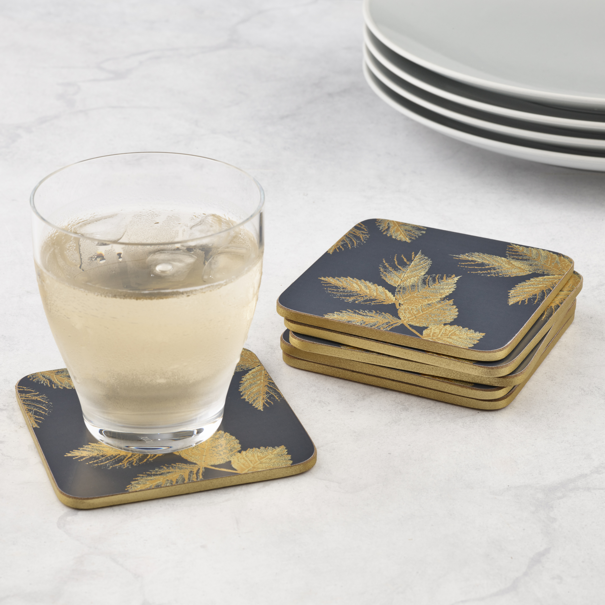 Sara Miller London for Pimpernel Etched Leaves Coasters Set of 6 Navy image number 4