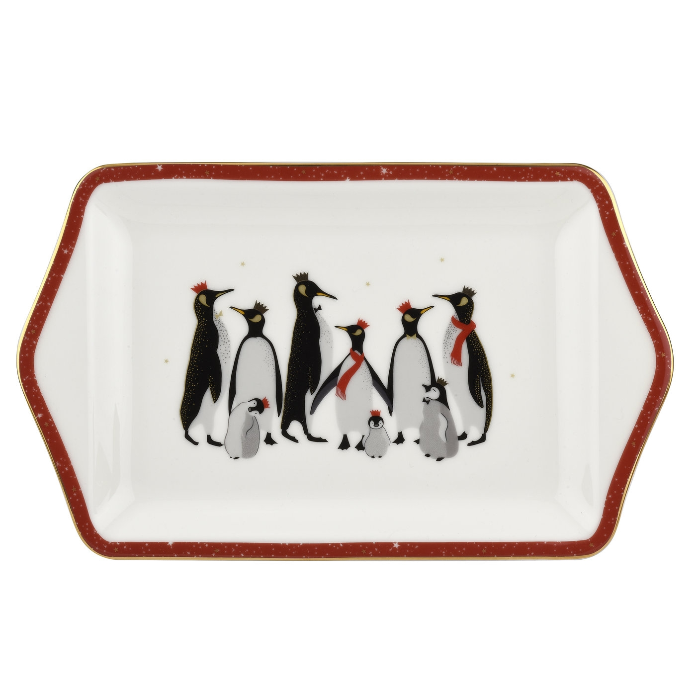 Sara Miller London For Portmeirion Christmas Penguin Red 12 Inch Dessert Tray image number 0