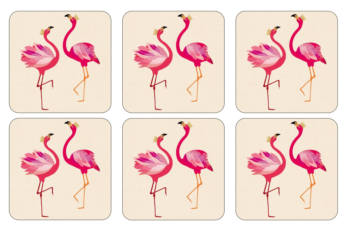 Sara Miller London for Pimpernel The Flamingo Collection Coasters Set of 6 image number 0