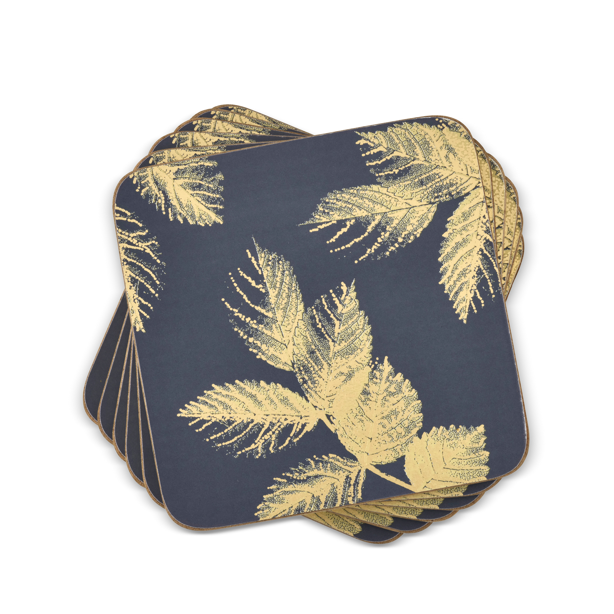 Sara Miller London for Pimpernel Etched Leaves Coasters Set of 6 Navy image number 0