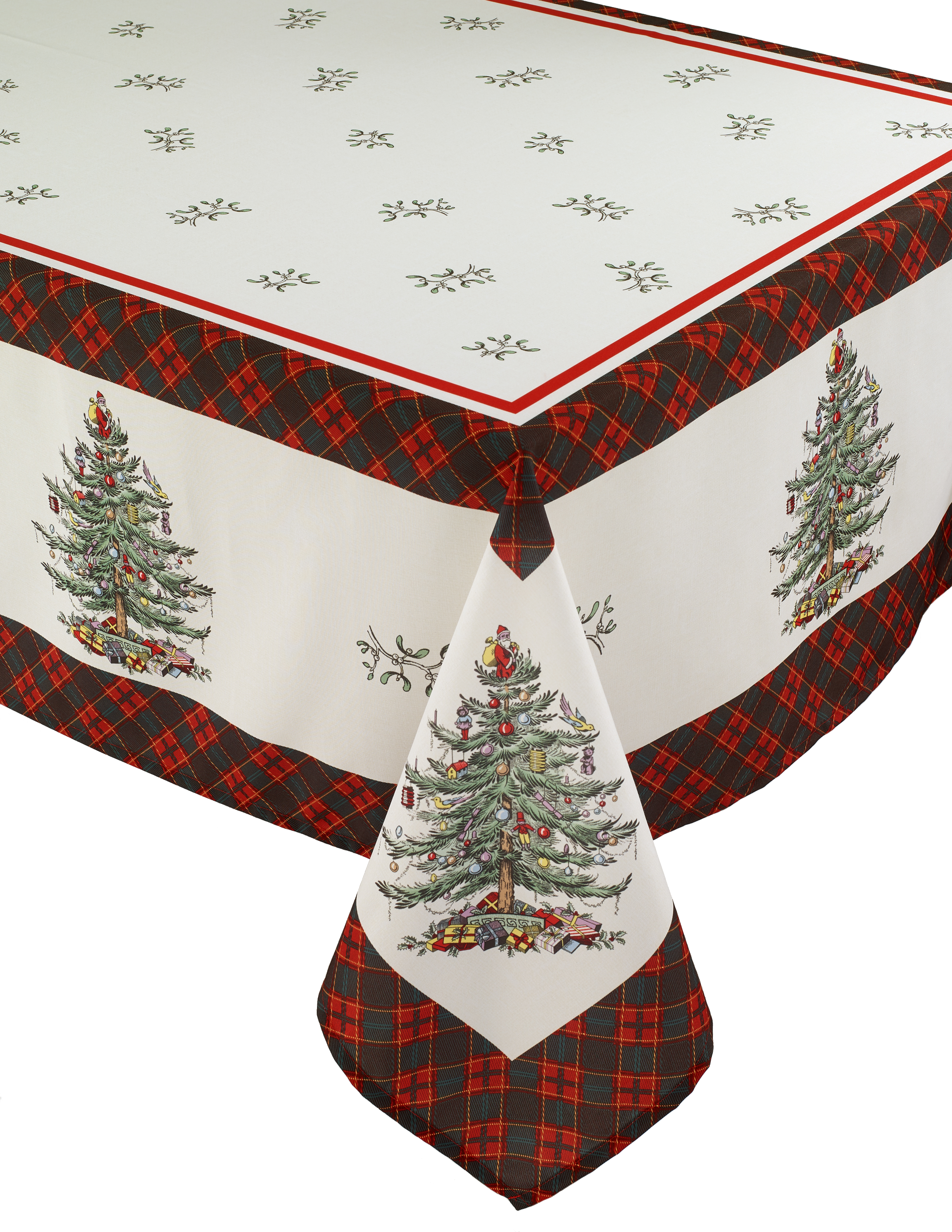"Spode Christmas Tree Tartan 102"" Oblong Tablecloth image number 0"