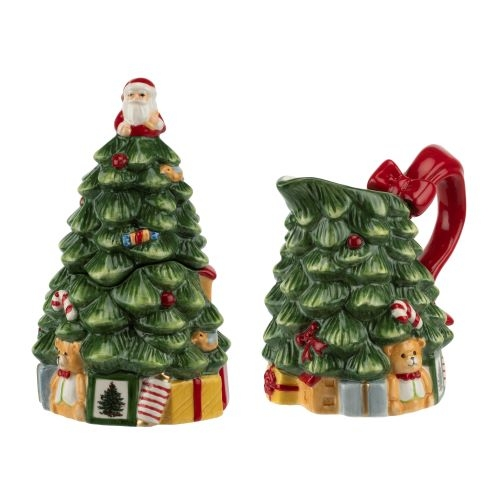 Spode 250th Anniversary Christmas Tree Figural Sugar and Creamer Set image number 0