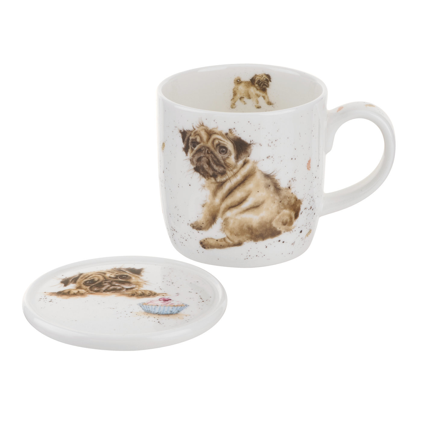 Royal Worcester Wrendale Designs Pug Love (Dog) Mug  image number 0
