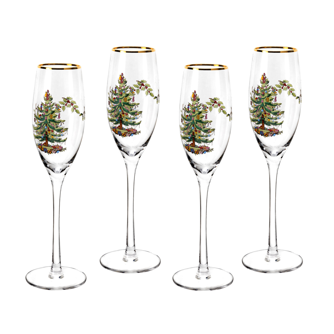 Spode Christmas Tree Champagne Fluted Glasses Set of 4 image number 0