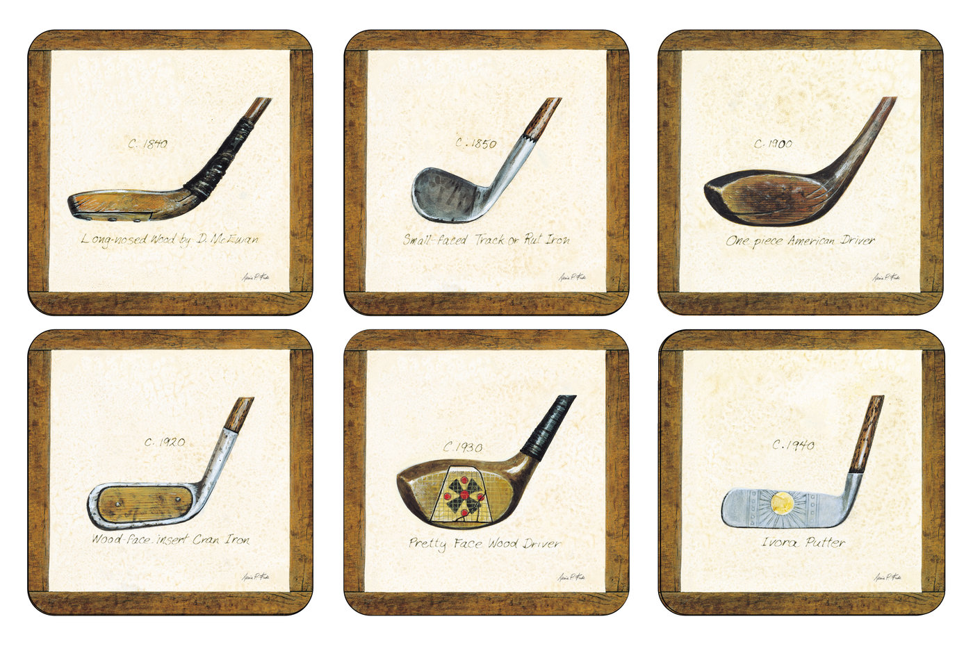 Pimpernel A History of Golf Set of 6 Square Coasters image number 0