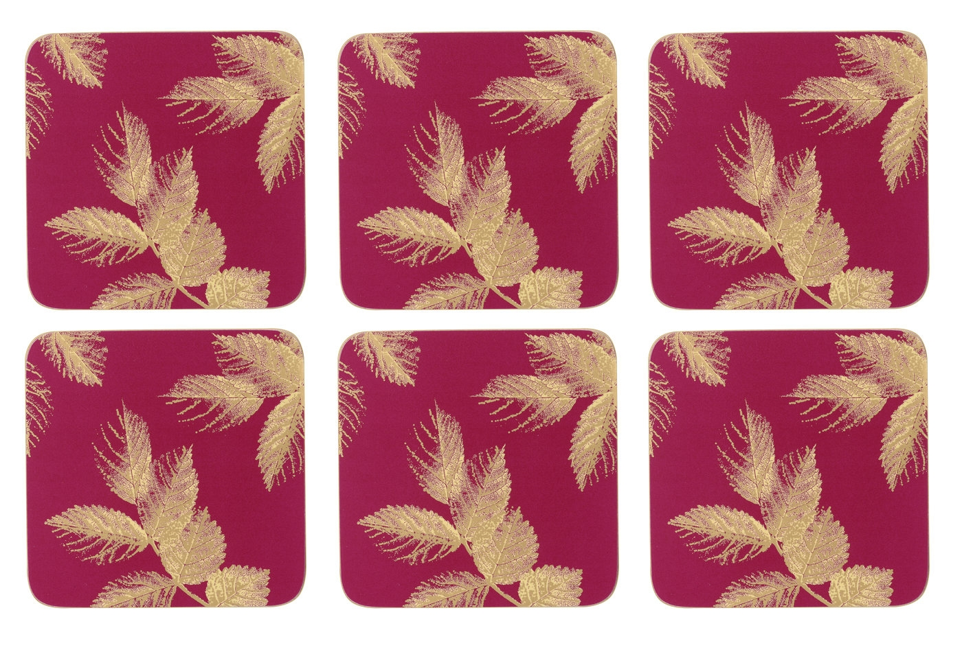 Sara Miller London for Pimpernel Etched Leaves Coasters Set of 6 Pink  image number 0