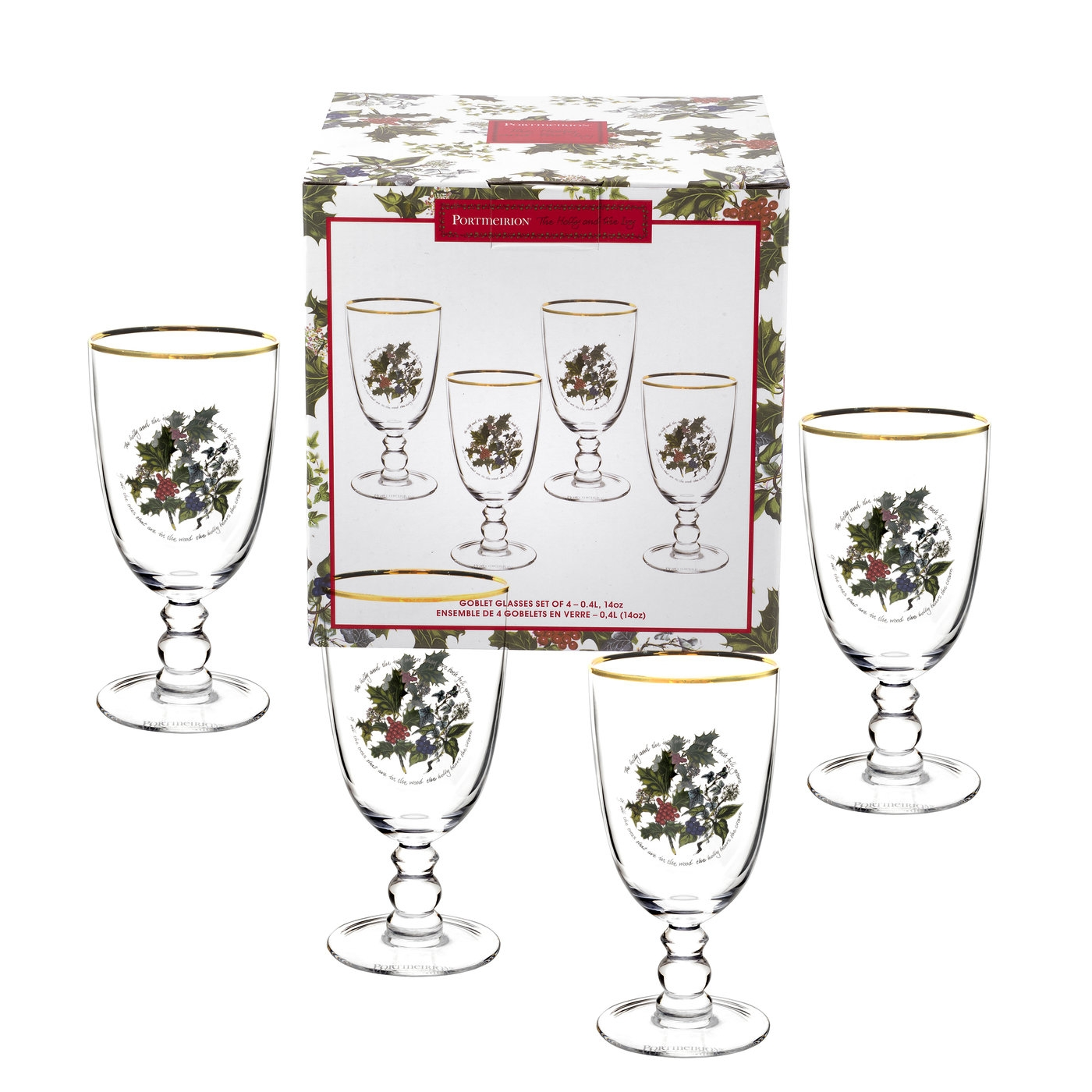 Portmeirion The Holly and The Ivy Set of 4 Goblets image number 0