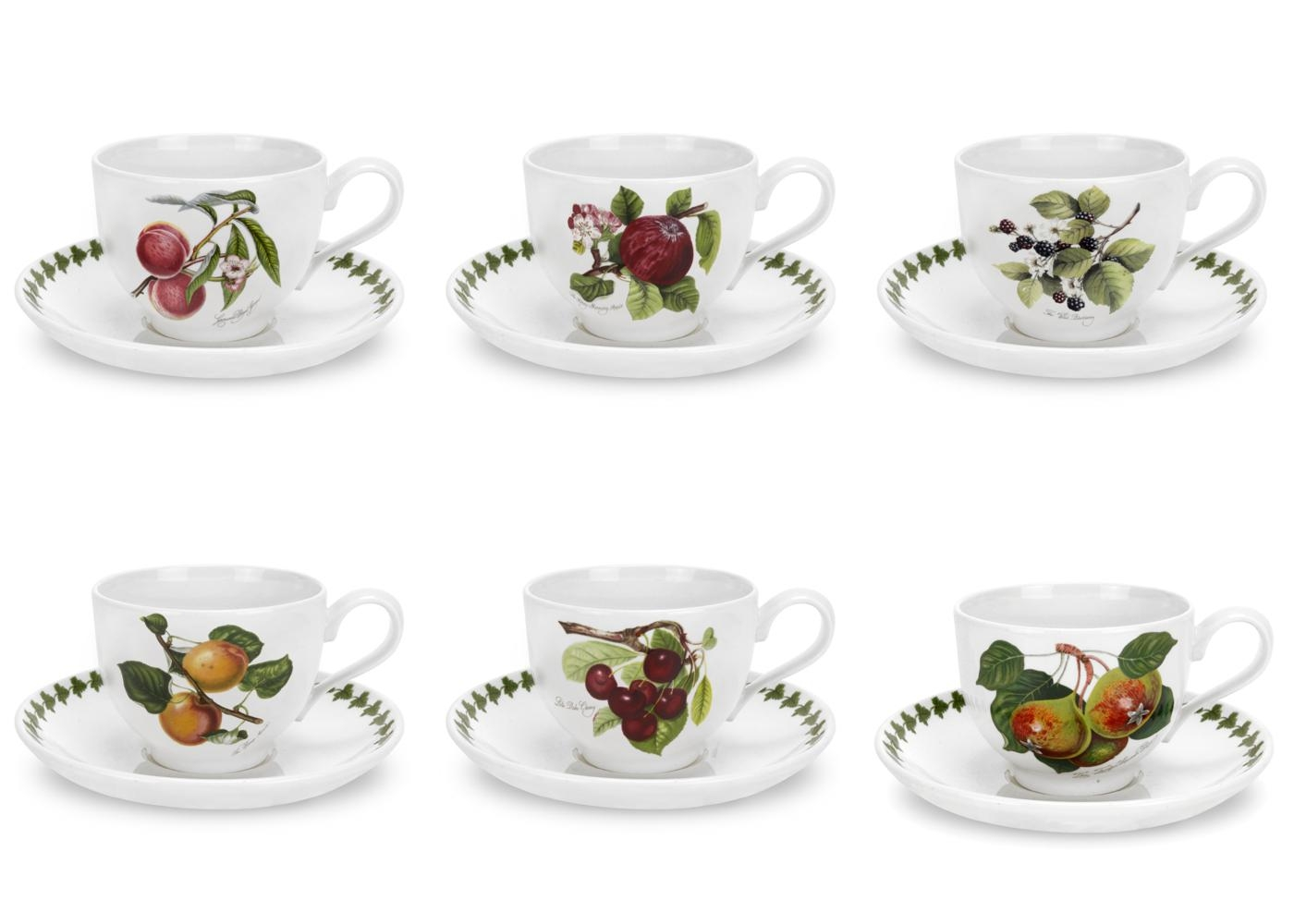 Portmeirion Pomona Set of 6 Breakfast Cups and Saucers Assorted Motifs image number 0