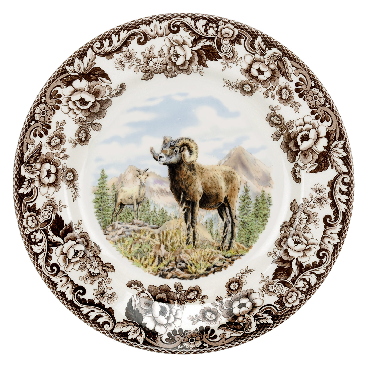 Spode Woodland Dinner Plate 10.5 Inch (Bighorn Sheep) image number 0