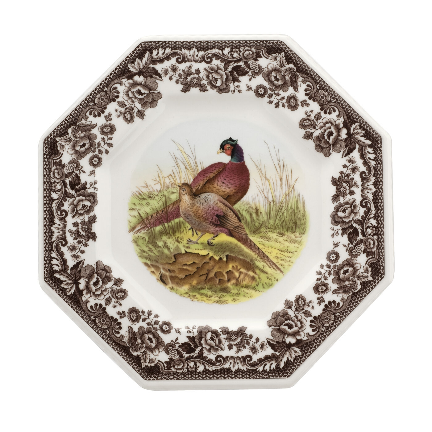 Spode Woodland Octagonal Plate 9.5 Inch (Pheasant) image number 0