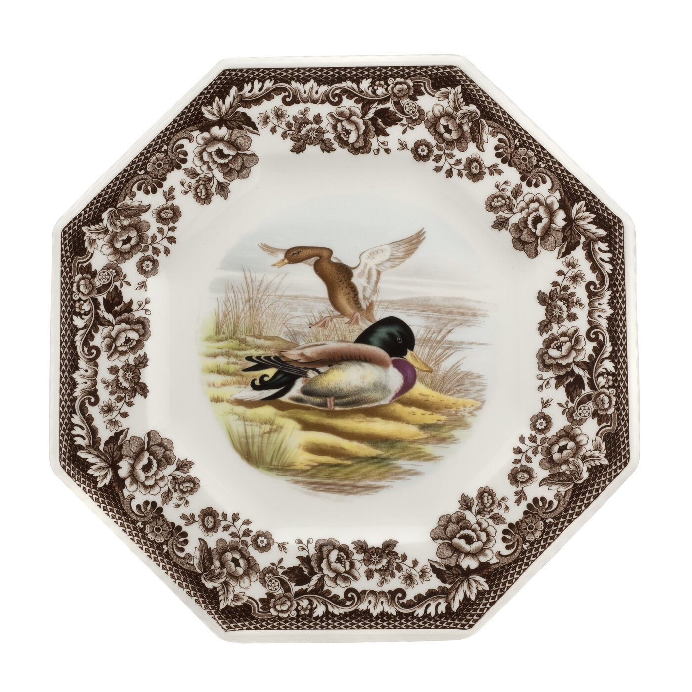 Spode Woodland Octagonal Plate 9.5 Inch (Mallard) image number 0