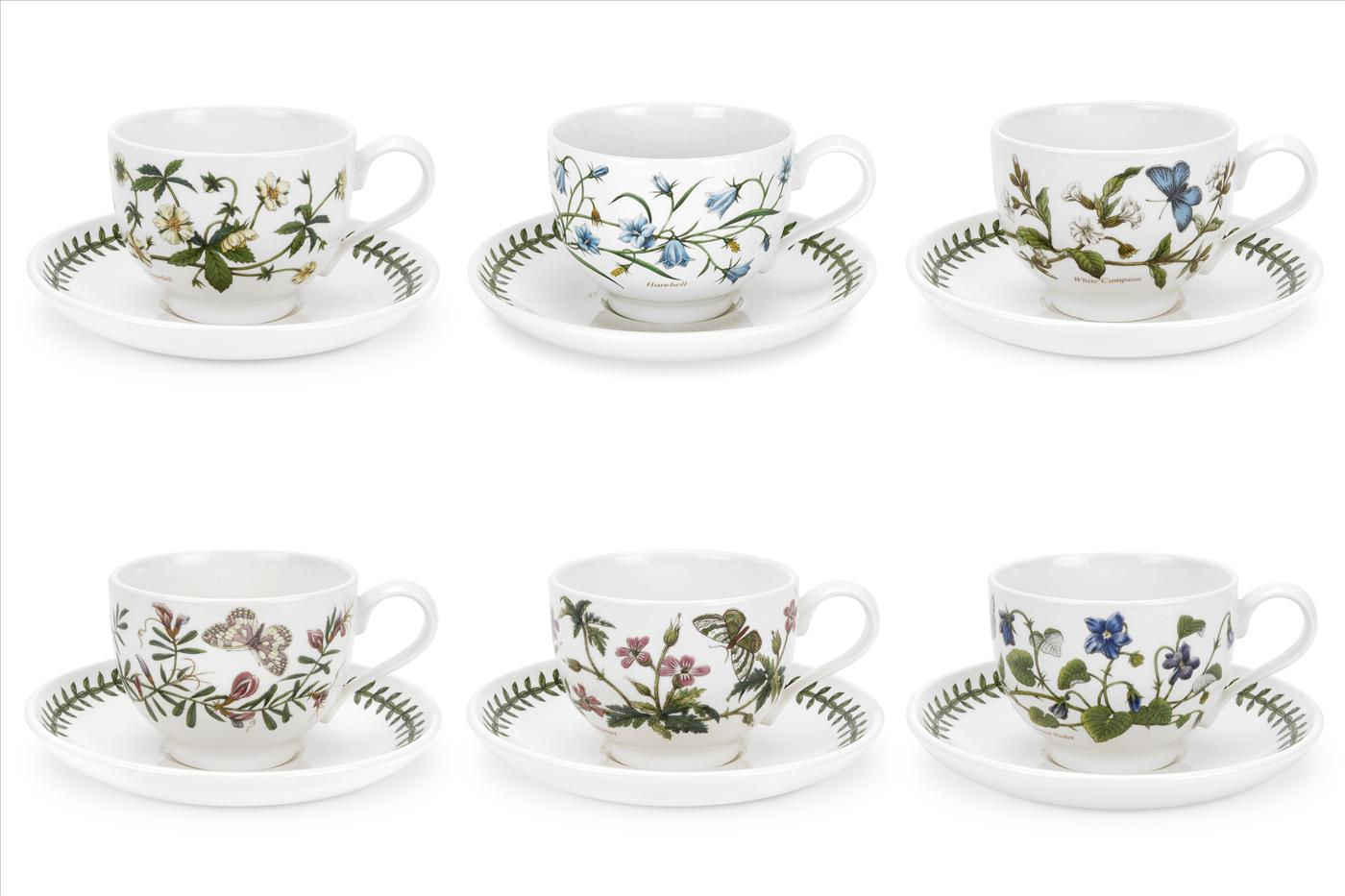 Botanic Garden Set of 6 Teacups & Saucers (T) Assorted Motifs image number 0