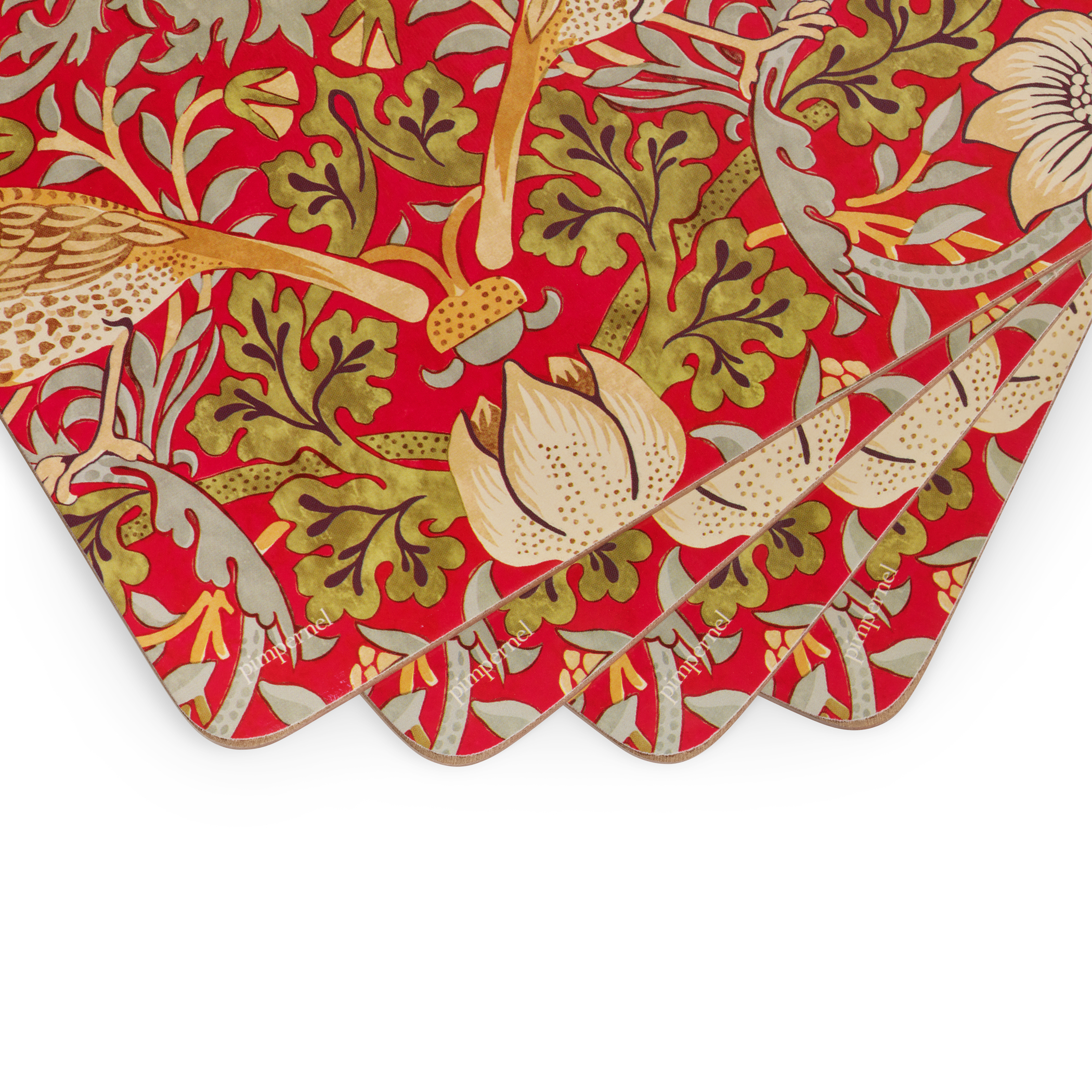 Morris and Co for Pimpernel Strawberry Thief Red Placemats Set of 4 image number 1