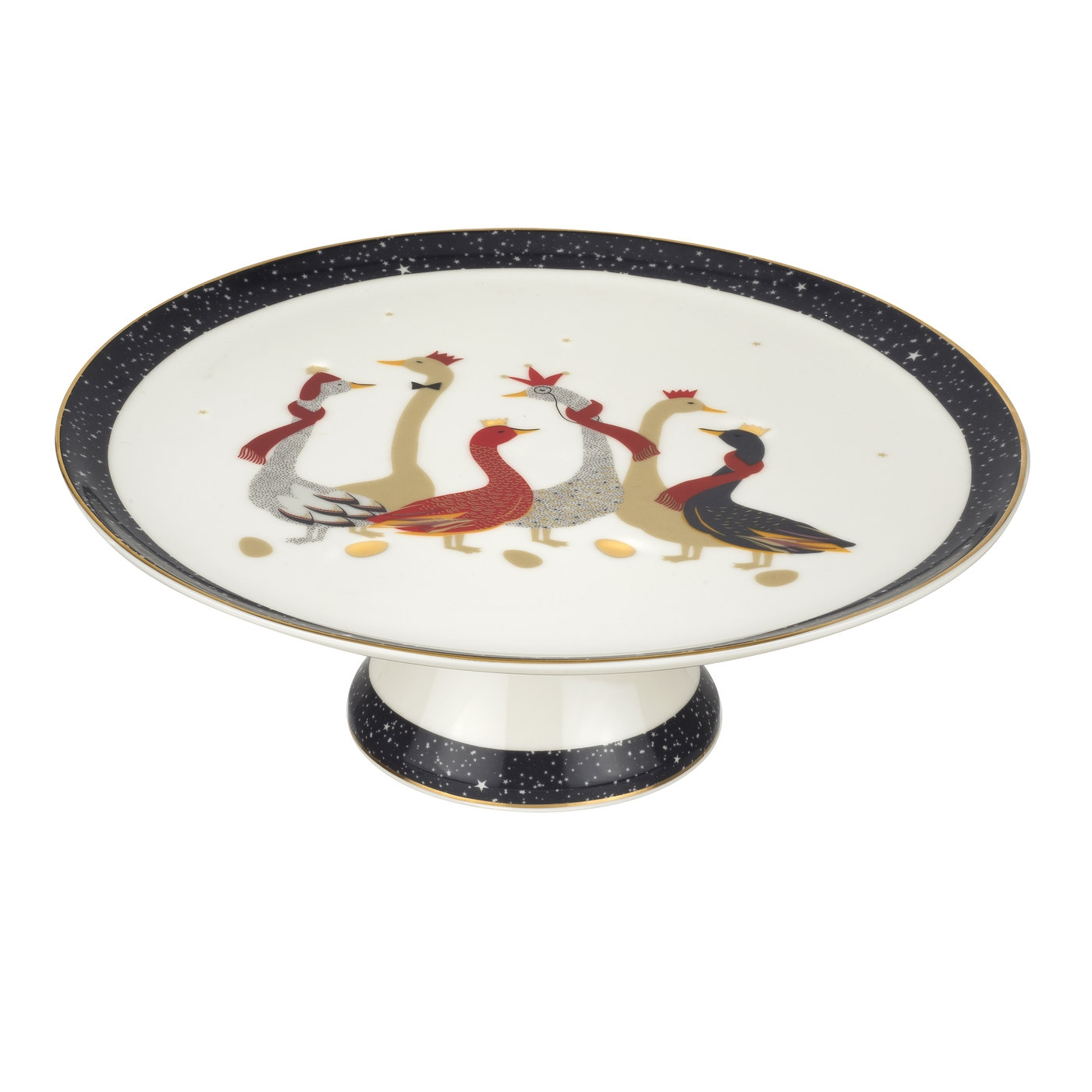 Sara Miller London For Portmeirion Christmas Geese 10.5 Inch Footed Cake Plate image number 0