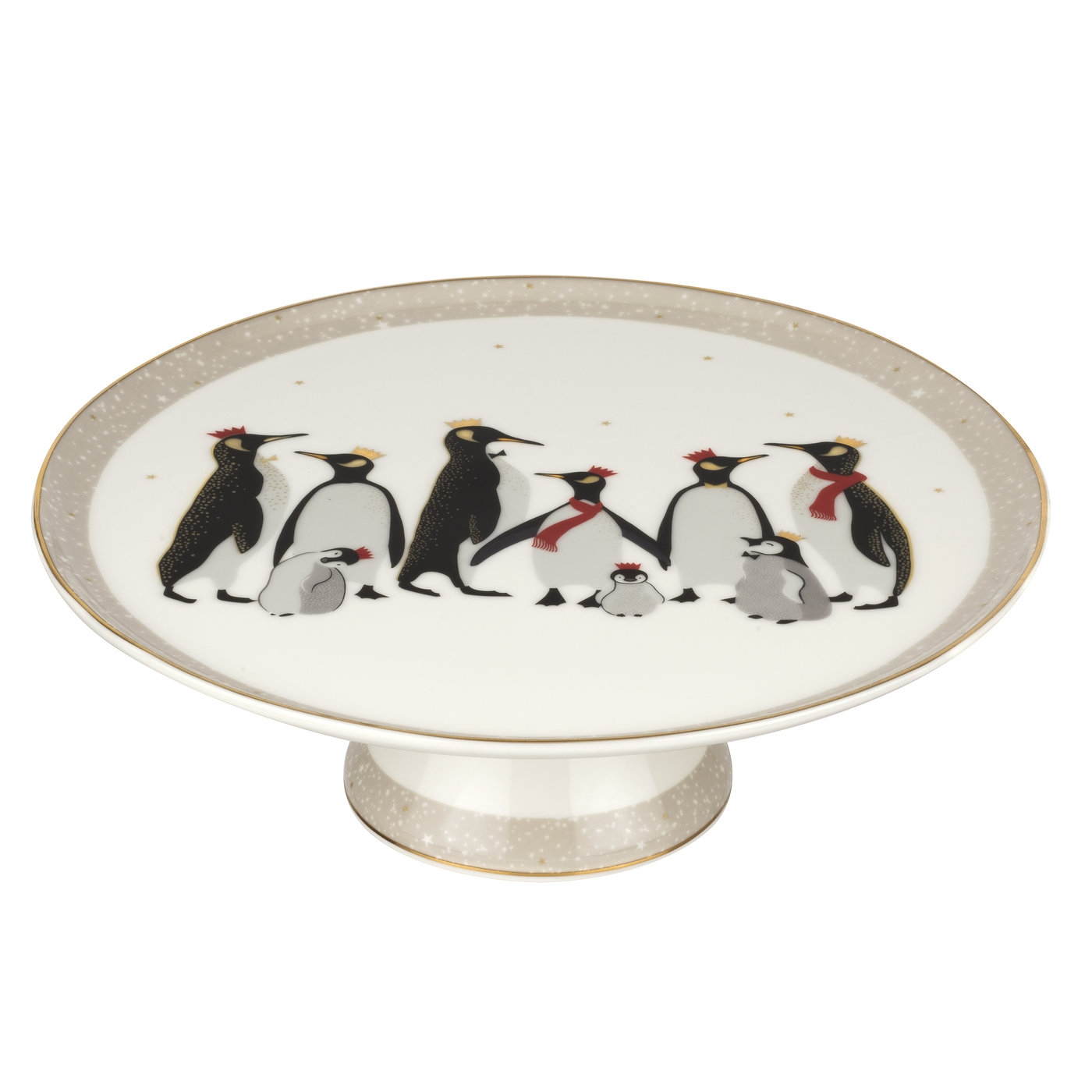 Sara Miller London For Portmeirion Christmas Penguin 10.5 Inch Footed Cake Plate image number 0